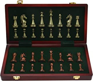 Deluxe Chess Set Folding Metal Chess Set Chess Set with Retro Copper Plated Metal Chess Pieces & Portable Folding Wooden C...