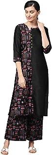 Ziyaa Women's Black Khadi Print Straight Polysilk Kurta With Palazzo Set