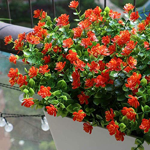 SUSUFAIRY Artificial Flowers Outdoor Decoration UV Resistant Fake Plastic Plants Outside Indoor Hanging Faux Greenery Shrubs Arrangement for Vase Porch Window Box Patio Wedding Home 4 Pack (Orange)