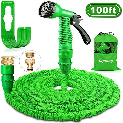 Suplong Garden Hose Expandable Water Pipe 3 Times Expanding 100ft Flexible Magic Hose Pipes Reel With 7 Function Spray/Brass Connector Fittings/Hose Hanger/Storage Bag