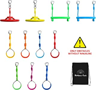 Rainbow Craft Ninja Ring&Trapeze Accessories for Ninja Obstacle Course - Outdoor Kids Play, 7pc Ninja Rings, 2pc Ninja Swing Wheel and 2pc Ninja Trapeze Bars