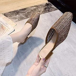 Baotou Hollow Women's Shoes Summer Beach Wear Breathable Grass Woven Half Slippers Women