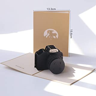 Paper Spiritz Camera Pop up Cards Birthday, Anniversary Thank You Card for Husband Daughter Wife, Handmade Graduation Sympathy Blank Card, Laser Cut Gift Card with Envelopes all Occasions