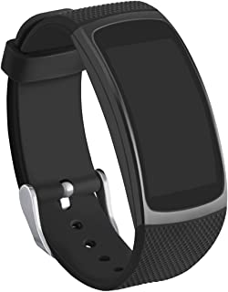 GHIJKL Compatible Gear Fit2 Bands, Silicone Replacement Strap for Samsung Gear Fit 2 & 2 Pro Tracker (New Black)
