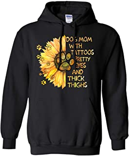 Pawmatude Sunflower Tattoos Pretty Eyes and Thick Thighs Dog Mom Lovers Hoodie
