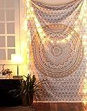 RAJRANG BRINGING RAJASTHAN TO YOU Tapiz Mandala Colgar en la Pared - Bohemio Decorativo Cubierta Decorativa Casera Etnica India del Pano de Tabla - Oro - 213 x 137 cm