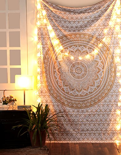 RAJRANG BRINGING RAJASTHAN TO YOU Tapestry Wall Hanging - Cute Hippie Mandala Tapiz Queen Size Cotton Bedding Bohemian Boho Bedspread Wandteppich (Small, Gold)