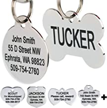 GoTags Stainless Steel Pet ID Tags, Personalized Dog Tags and Cat Tags, up to 8 Lines of Custom Text, Engraved on Both Sid...