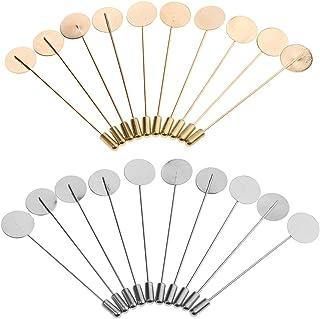 Prettyia 20pcs Empty Round Bezel Empty Tray Findings Craft Stick Pin Brooch DIY 1.5cm
