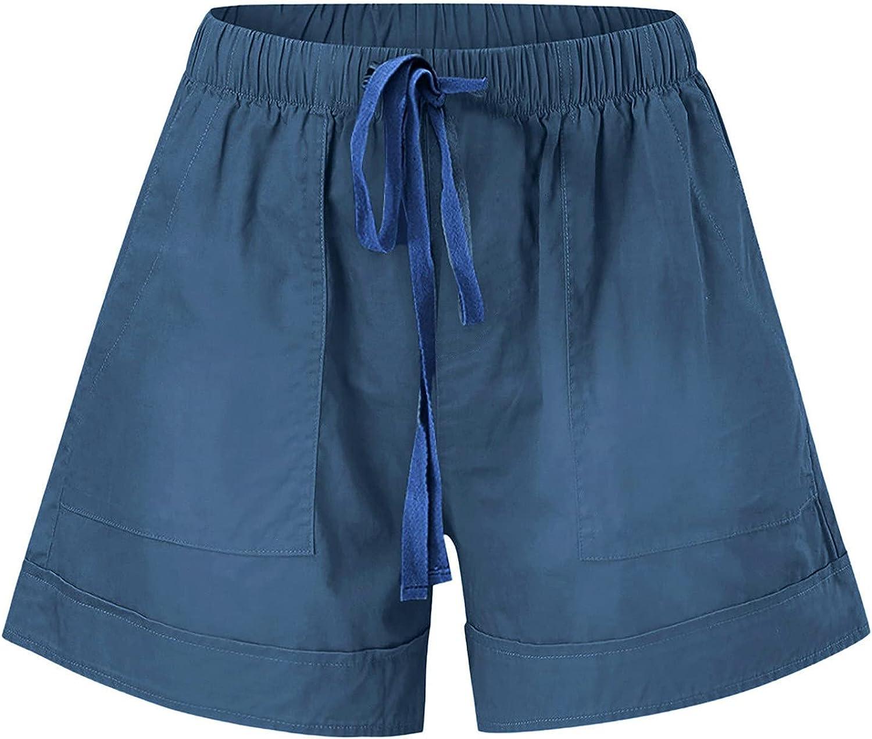 MASZONE Womens Shorts for Summer, Women Comfy Drawstring Casual Elastic Waist Pocketed Shorts Running Shorts for Women