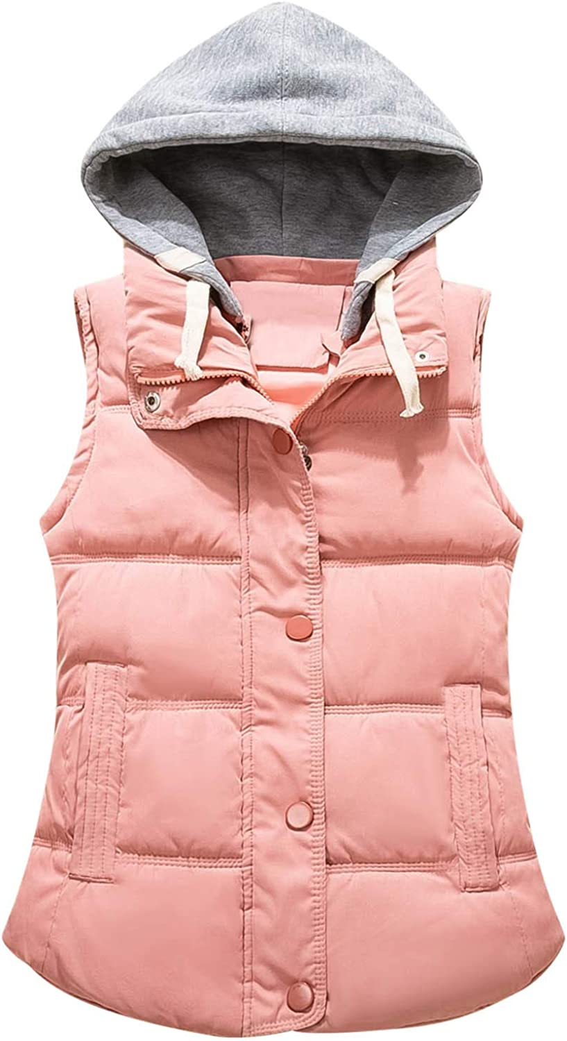 Womens Sleeveless Vest Warm Coat Solid Color Quilted Button Zip Up Gilet Drawstring Removable Hooded Outerwear Winter Short Puffer Coat with Pockets Casual Vest Down Outdoor
