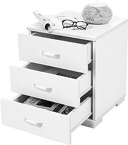 SONGMICS Comodino, Cassettiera con 3 Cassetti, Moderno Comodini, Letto Archiviazione da Ufficio Classificatore, 40 x 40 x 49 cm Bianco LBC50WT