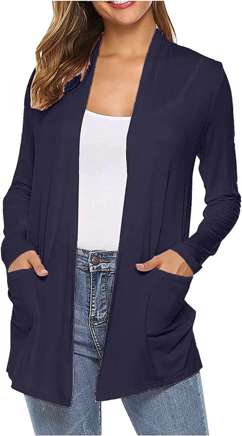 SERYU Women Cardigans Loose Casual Long Sleeved Open Front Breathable coat with Pockets