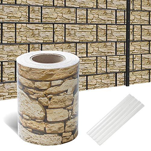 Hengda Sichtschutzstreifen für Doppelstabmatten, 70 m x 19 cm mit 60 Clips, PVC Sichtschutzfolie für Zaun, Gartenzaun, Doppelstabmattenzaun, Sichtschutz, Beidseitiger Druck
