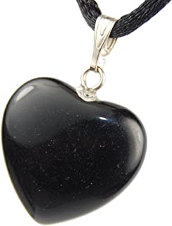 Big Heart Collection - 20mm Classic Obsidian Black - 20-22 inch Black Cord – Crystal Gemstone Carved Necklace Charm Handmade + Bonus Gift