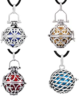 EUDORA 4pcs Harmony Bola 16mm/18mm/20mm Silver Plated Pendant Necklace with 30'' Chain