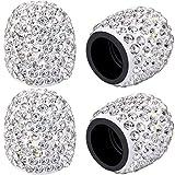 4 Tapas de Válvula Brillante Cubiertas de Tapas de Neumáticos de Coche de Diamantes de Imitación de Cristal Hechos a Mano Accesorios Atractivos a Prueba de Polvo Cromados (Blanco)
