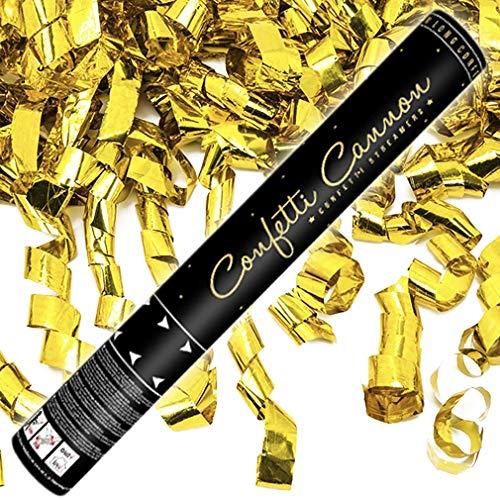 10x XXL Konfetti-Shooter Luftschlangen Shooter Party Popper Goldfarbene Folienstreifen Konfetti Kanone Länge XXL 80 cm ! Hochzeit. Von Haus der Herzen.