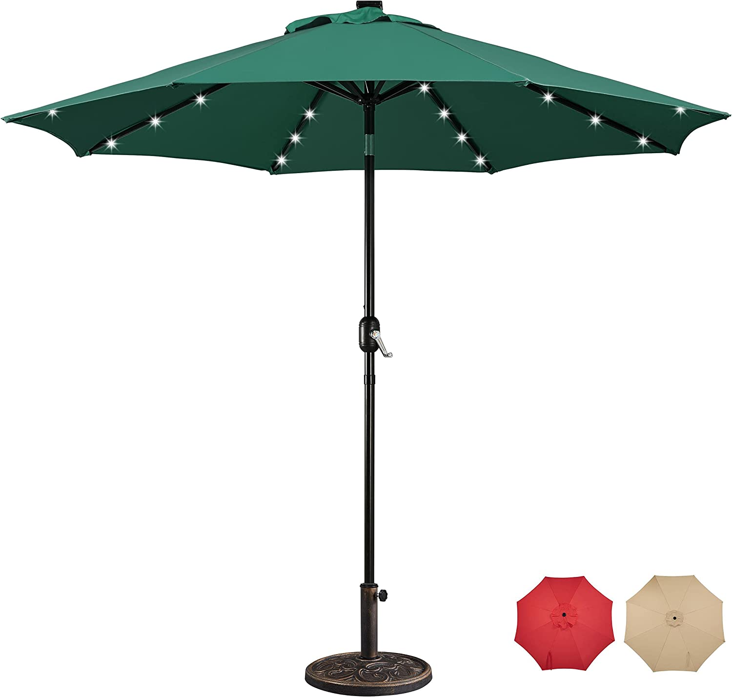 Dallas Mall Yaheetech 7.5 9FT LED Max 60% OFF Patio Market Base Umbrella S with