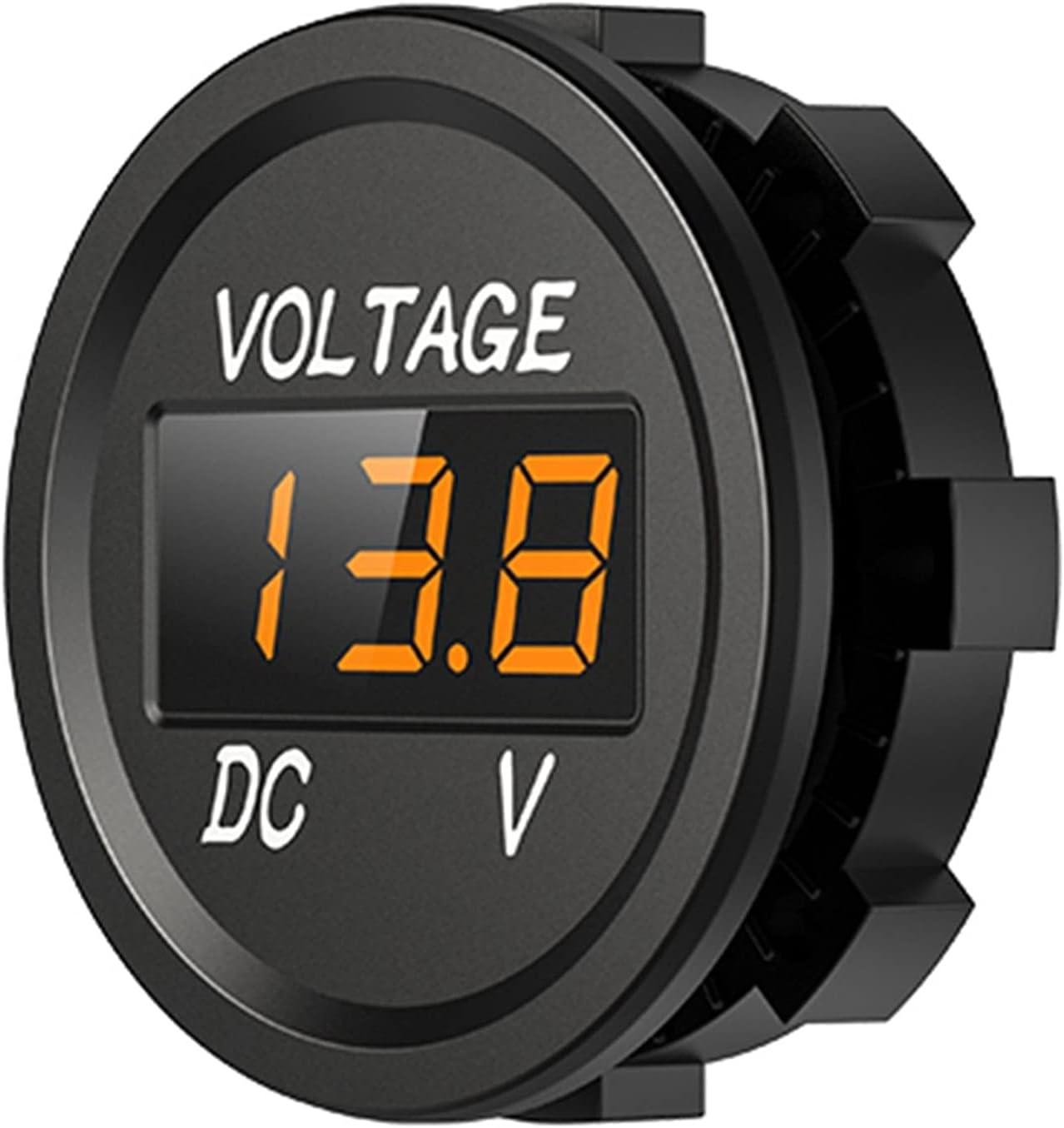MCYAW D3 LED Mostrar Panel Digital Voltímetro de Voltaje de Voltaje Auto Camión Revestimiento Accesorios para 12-24V Coche de automoción (Color : Orange A)