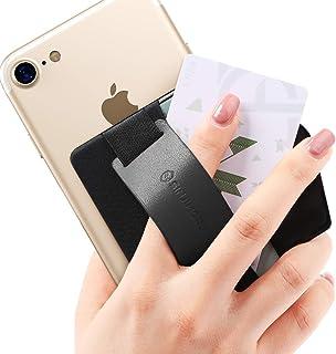 Sinjimoru スマホスタンド カード入れ、落下防止 携帯ストラップ、どこでも楽に動画 視聴できるレザースタンド、クレジットカード SUICAカードが収納できる 手帳型 スマホ カードホルダー。シンジポーチB-GRIP ブラック。