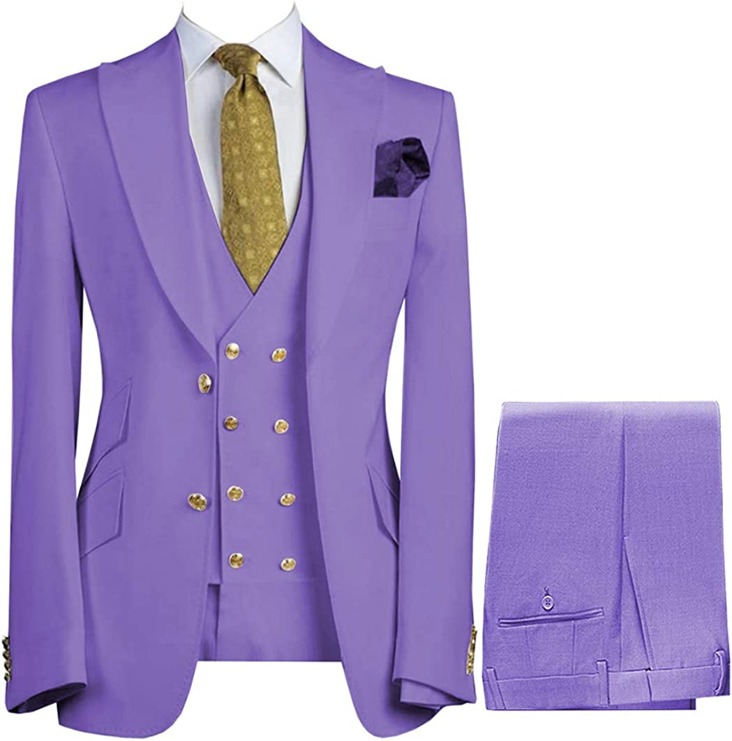 Zeattall Men's 3 Pieces Suits Slim Fit Wedding Groom Tuxedos Blazer Tux Vest Trousers Formal Suit