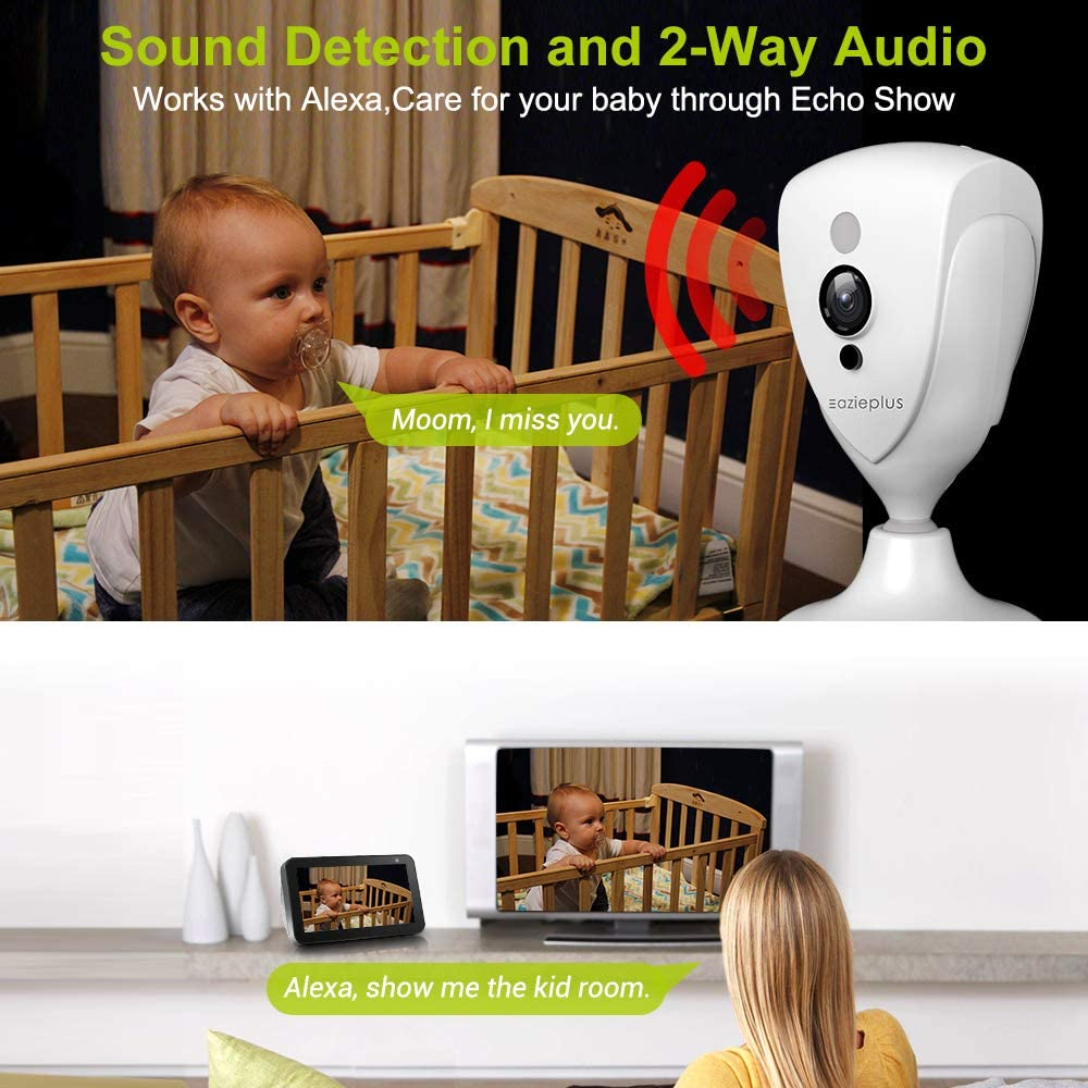 Ideal for Home Security//Dog//Nanny//Baby Monitor 2-Way Audio Wireless IP Camera Indoor- Pet Camera 5MP Super FHD Plug-in Pan//Tilt//Zoom Smart Home WiFi Camera with Night Vision Support Alexa /& Cloud