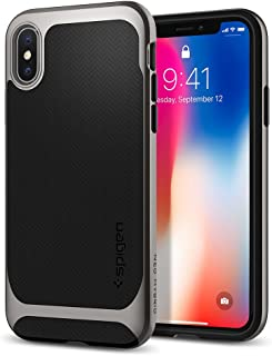 Spigen Neo Hybrid iPhone X Case Herringbone with Flexible Inner Protection and Reinforced Hard Bumper Frame for Apple iPhone X (2017) - Black & Gunmetal