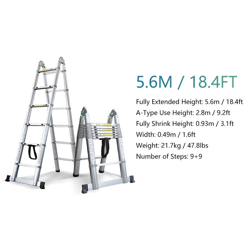 Escalera telescópica de aluminio con barra estabilizadora y bisagras, resistente, multiusos, plegable, para techo, loft, oficina, caravana, carga de 250 kg lxhff: Amazon.es: Bricolaje y herramientas