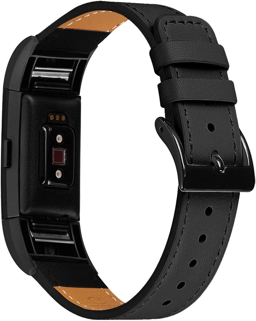 WFEAGL Replacment Bands Compatible for Charge 2, Classic & Special Edition, Top Grain Leather Strap Wristbands (Black Band+Black Adapter, Charge2)