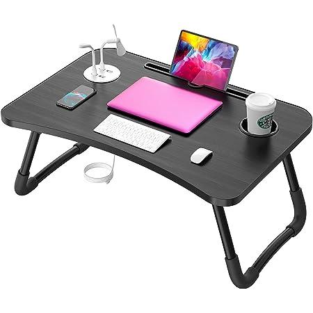 Elekin Table de Lit pour Ordinateur Portable Pliante Debout Multi-Fonction Ordinateur Portable Table de Lit Support de Bureau avec Support, Panneaux Épaissis et Pieds Renforcés
