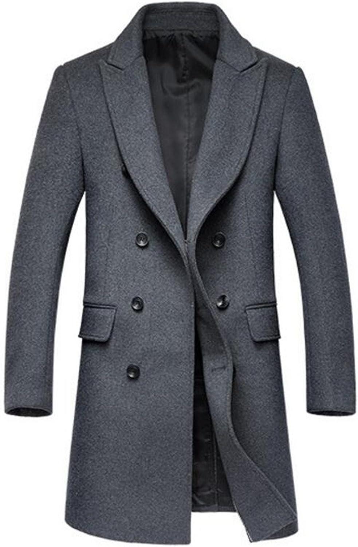 6cd6e405b5 Papijam Papijam Papijam Men's Double-Breasted Winter Mid-length Trenchcoat  Wool Blend Pea Coat fbe9c2