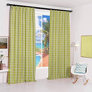 Geometric Pleated curtains with blackout and lining Vertical Lines Circles and Cute Little Polka Dots Retro Colored Abstract Used for Living room bedroom with sliding door patio door W72 x L108 Inch