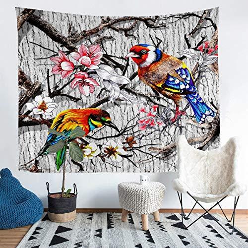 Tapiz de pájaros colorido pájaro botánico floral colgante de pared para niños niñas adolescentes 3D Animal manta de pared naturaleza granja estilo cama manta de cama extragrande 152 x 223 cm