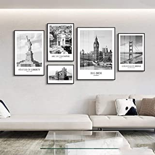 YXZQ Mural wall decoration, 5 Pieces Modern Canvas Wall Art Decor Set, New York, London, Paris Black And White City Archit...