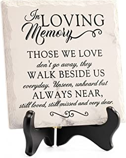 LukieJac Sympathy Gifts for Loss of Loved One In Memory of Mother Father Plaque with Wooden Stand Bereavement/Condolences/...