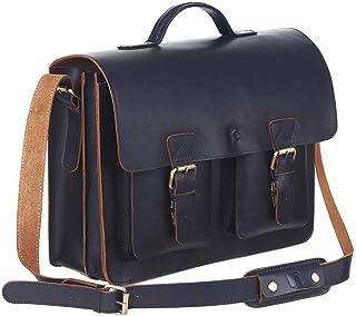 Schoolmaster Classic, stilvolle Lehrertasche & Aktentasche aus echtem Leder, viele Innenfächer, Umhängetasche für Damen & Herren, 40 x 32 x 18 cm, in Dunkel-Blau, Braun, Bordeaux