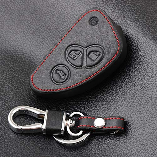 N\A - Funda para llave de coche para Alfa Romeo 147 156 166 GT JTD TS Flip Remote Car Key Jacket Cartera de piel auténtica para llave de coche (nombre de color: negro)