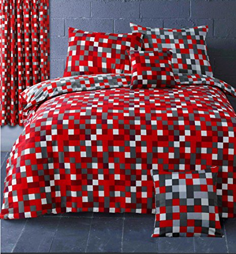 HBS Pixel Bedding Set King Size Bed Duvet/Quilt Cover Bedding Set Pixel Squares Reversible Bedding Duvet Cover with Pillowcase Red & Grey