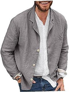 Men Blazer Jacket Loose Open Front Long Sleeve Blazer for Spring Autumn Gray 3XL