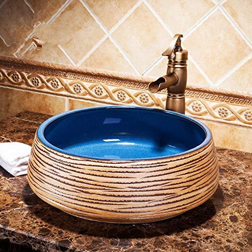 DWSS® waschbecken Badezimmerarbeitsplatten Keramik-Waschtische Keramik-Waschtische Handbemalte Waschbecken bemalte Waschbecken