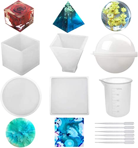 Silicone Resin Molds 5Pcs Resin Casting Molds Including Sphere, Cube, Pyramid, Square, Round with 1 Measuring Cup & 5...