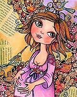 キャンバス上のデジタルオイルペインティングアニメ少女26〜16歳の子供の寝室のリビングルームの装飾ホリデーギフトデジタルオイルペインティング16 * 20インチ-1