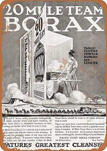 Radiancy Inc Mule Team Borax Waschmittel Eisen Malerei Blechschild Wand Vintage Deko Poster Warnung Plakette Deko Tide für Zimmer Café Bar Club Garten Parkplatz