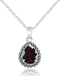 Ice Gems Sterling Silver Genuine, Simulated, or Created Gemstone Pear-Cut Oxidized Rope Pendant Necklace