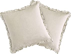 David's Home Pack of 2 Pure Linen Euro Sham Covers Decorative Square Pillowcase Soft Breathable Envelop Closure Cushion Ca...