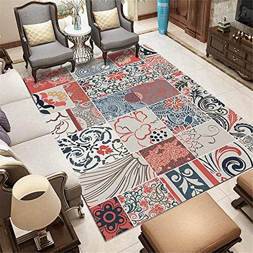 Alfombra alfombras para baños Patrón de rectángulo geométrico Gris Azul Rojo Hermoso diseño de Flores de Doodle aspiradora Alfombra 60*160cm