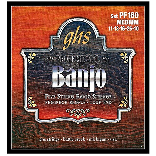 GHS Strings PF160 5-String Banjo Strings, Phosphor Bronze, Medium...