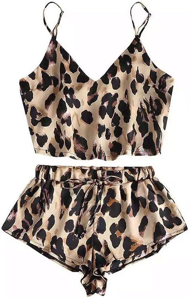 RYGHEWE Womens Silk Satin Leopard Pajamas Set Two-Piece Pj Cami Top with Shorts Sleepwear Loungewear Lingerie Sets