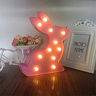 Mobestech Rabbit Night Light Battery Powered Light up Marquee Sign Bunny Lamp for Easter Party Decoration Home Bedroom Dec...